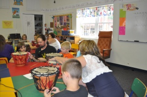 During Music Camp the children created their own drum using a clay flower pot. They learned to play their drums and performed for their parents.